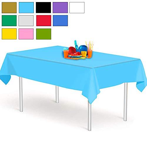 YANGTE Mantel de Plástico Desechable, Azul 4 Unidades, 137 x 274 cm, para mesas Interiores o Exteriores,Fiestas, Cumpleaños, Bodas, Navidad