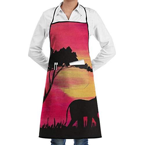 Pag Crane Elefant auf der Sahara Sonnenuntergang Malerei Chef Schürze mit Taschen Grill Schürzen für Frauen Männer Küche Kochen Backen BBQ