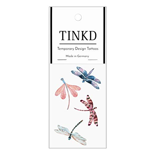 TINKD Libelle Tattoo für die Haut - Aquarell Tattoo Dragon Fly - Made in Germany