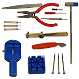 DIY Crafts Metal Watch Repair Tool Kit with Hammer Screwdrivers Wrench Cutter, Multicolour