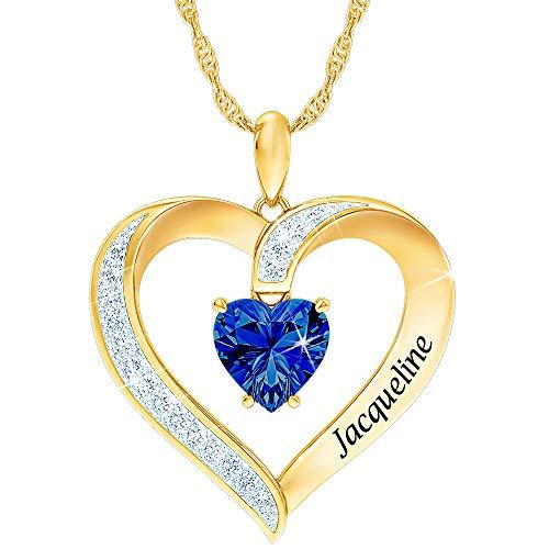 Personalized Birthstone Heart Pendant