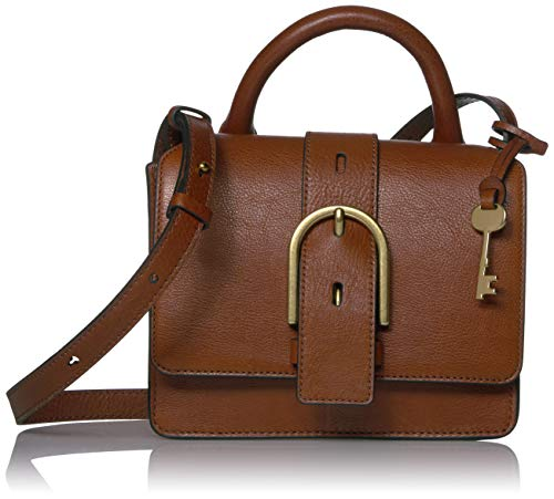Fossil Women's Wiley Leather Top Handle Flap Crossbody Handbag, Brown