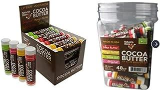 Nature's Bees, Cocoa Butter Lip Balms, All Natural Lip Moisturizer Treatment - Pack of 72, (Original Variety Assortments - Original, Olive Oil, Mango Butter, Shea Butter)