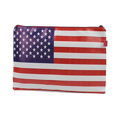 Mood Milano - Busta Astuccio Portatutto con stampa Bandiera dell America in PVC dimensioni 24x17,5 cm (Misura M)