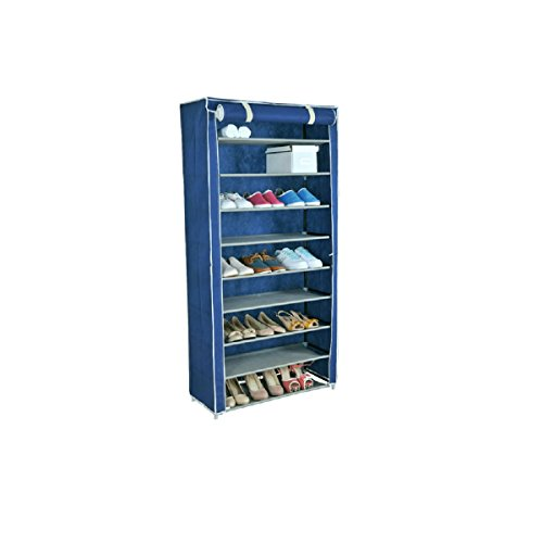 Uniware PEVA Material Tall Roll Up 10 Tiers Shoe Rack with Dustproof Cover Closet Shoe Storage, 63 x...