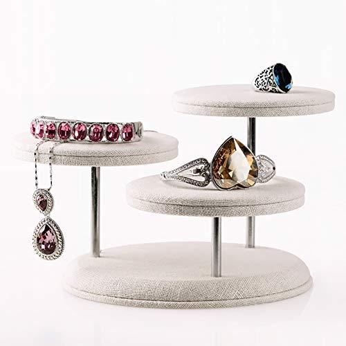 OOSM&H Schmuck Rack Leinen Runden Tisch Ring Halskette Rahmen Armband Ausstellungsstand Schmuck Zubehör Requisiten Weiß