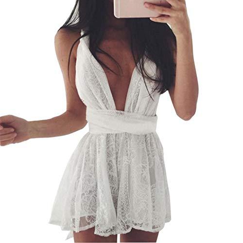 Overdose Vestido Sexy Vestido de Verano para Nadar Mujeres Clubwear de Verano sin Espalda Fiesta Cruzada Noche de Encaje Blanco Mini Vestido Corto