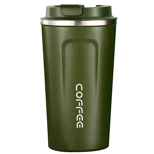 xxccxx Reusable Coffee Cup | 450Ml | Perfect Leakproof for Coffee, Tea | Stainless Steel Vacuum Insulated Cup-Bpa Free | Lightweight-with One-Click Lid/Ml-Green