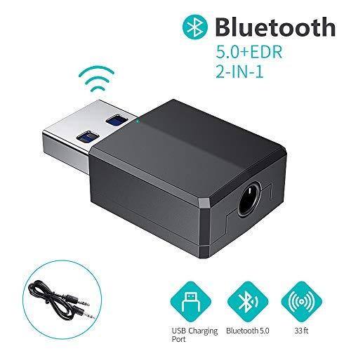 FLYLAND Bluetooth Adapter 5.0 Audio Sender, Empfänger 2-in-1 USB Adapter mit 3,5 mm Digital Audio Kabel , Digital Aux Kabel für PC/Laptop/Smartphone/Lautsprecher/Radio/CD / MP3 Player (Black)