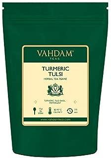 VAHDAM, Turmeric Tulsi Herbal Tea Loose Leaf (100 Cups)   INDIA'S MAGIC HERB   Blend Of Turmeric Tea & Tulsi   100% NATURAL TISANE Tea   Brew as Hot or Iced Tea   7 Oz