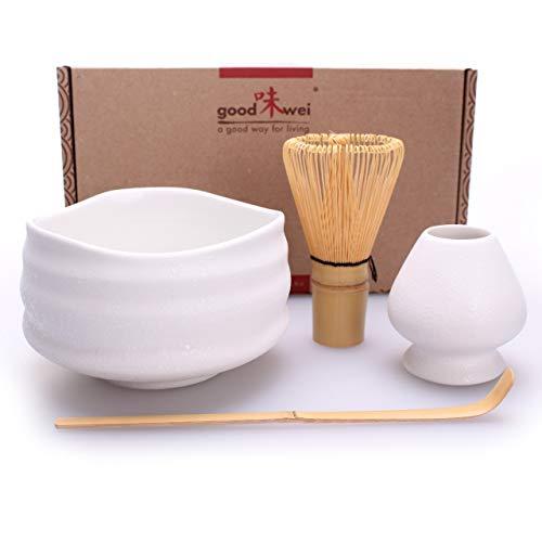 Goodwei Confezione Tè Matcha Giapponese - Set di Lusso Contiene Tazza da Cerimonia, Frullino di bambù e Porta Chasen (80, Miyuki)