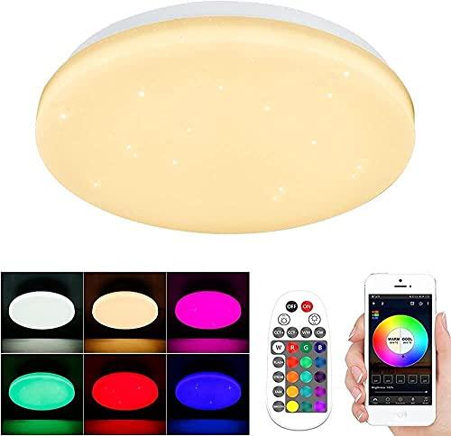 28 W - Plafón LED RGBWC Bluetooth, lámparas de techo 2240 lm, 3000 K-6500 K, con mando a distancia para sala de dormitorio, salón, cocina, entrada, pasillo, diámetro 28 cm