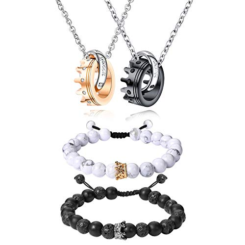 Cupimatch 2 Pairs Couple Matching Necklace Bracelets Set, Stainless Steel Adjustable King CZ Crown Ring Pendant Chain Necklace His and Hers Matte Agate Beads Promise Relationship Bangle Jewelry