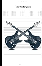 "Guitar Tabs Songbooks: Blank Guitar Tabs paper, Standard Staff & Tablature Featuring Twelve 6-Line Tablature Staves Per Page With a ""TAB"" Clef with Guitar Electric Instrument Theme"