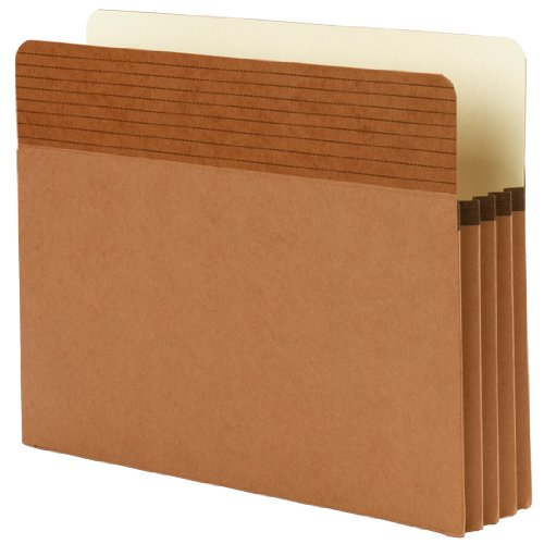 """Smead Easy Grip File Pocket, Straight-Cut Tab, 3-1/2"""" Expansion, Letter Size, Redrope, 4 per Pack (73217)"""