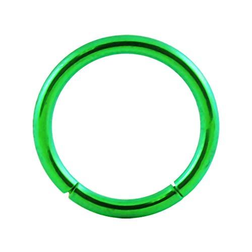 Grün eloxiert 16 Gauge - 8MM Länge Grad 23 Titan Segment Ring Nase Piercing