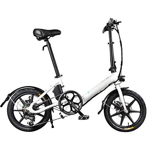 KNFBOK Bicicleta eléctrica plegable de 7,8 Ah, batería de litio de 14 pulgadas, para adultos, velocidad variable eléctrica, motor dentado sin escobillas, tres modos, color blanco