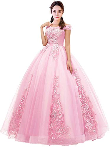 Diandiai Off Shoulder Sweet 16 Quinceanera Dresses Ball Gown Wedding Prom Formal Dresses Plus Size Pink 18