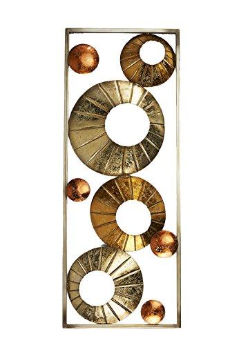 Kobolo Metall-Wandbild Wanddekoration Metallbid - Kreise hellgold Gold Kupfer - 75x28 cm