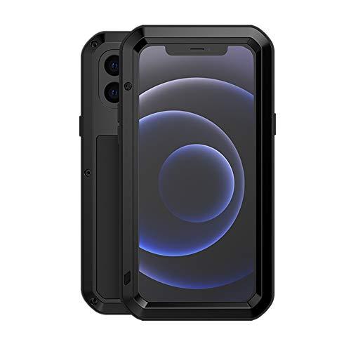 LOVE MEI per iPhone 12 Mini Custodia,Outdoor Heavy Duty Antiurto Impermeabile Polvere-Prova Sporcizia-Prova in Alluminio Metallo Cover con Vetro Temperato per iPhone 12 Mini 5.4'' (Nero)