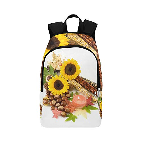 WJJSXKA Sunflower Indian Corn Candle Leaves Conkers Casual Daypack Travel Bag College School Backpack for Mens and Women