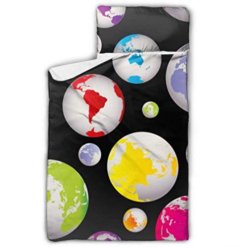 Abstrakte globale Erde Globen Nap Mat Boys Nap Mat Reisen mit Decke und Kissen Rollup Design ideal für Vorschule Kindertagesstätte Sleepovers 50