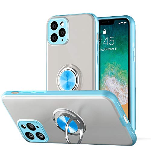 JXK iPhone 11 Pro Max Case with Ring Holder, Slim Fit Soft Bumper Magnetic Car Mount Translucent Matte Hard PC Back Cover for iPhone 11Pro Max Sky Blue