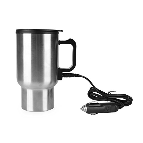 Rely2016 12V Car Heating Cup Stainless Steel Travel Coffee Cup Insulated Heated Thermos Mug with Plastic Inside