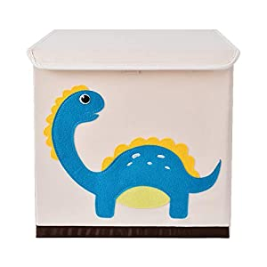 Bagnizer Kids Toy Storage Organizer with Flip-top Lid Foldable Fabric Toys Storage Chest/Bin/Trunk/Box/Basket for Girls and Boys Toddler Kids Nursery, 13inch Cube, Blue Dinosaur