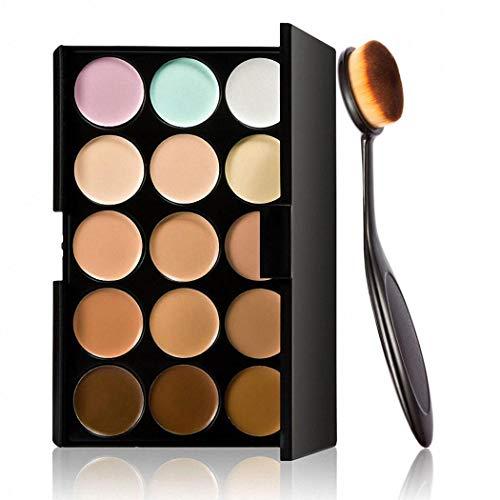 Keelied Palette de correcteur de crème de contour de 15 couleurs avec le maquillage de base de brosse Anti-tâches et correcteurs