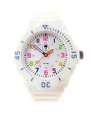 Orologio analogico al quarzo TimeStyle da donna, per bambini, Giappone, al quarzo - 5 ATM, castone in resina 33mm, fondello in acciaio inossidabile, quadrante colorato, 12/24, cinturino in PU di Time