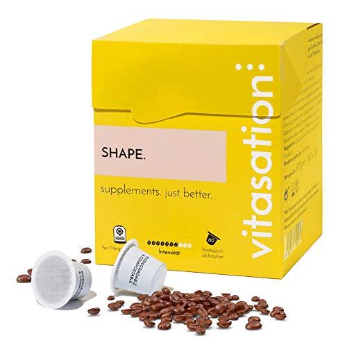 vitasation SHAPE. Kaffee mit Garcinia Cambogia, Probiotika & Zimt (60 Kaffee-Kapseln) – Gemahlene Kaffeebohnen zum Abnehmen - Appetit-Kontrolle, Stoffwechsel anregen & verbesserte Darmflora
