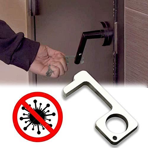 Abrepuertas sin contacto, herramienta de llavero de mano saludable, mano higiénica, evita la suciedad ambiental y más higiene (plata)