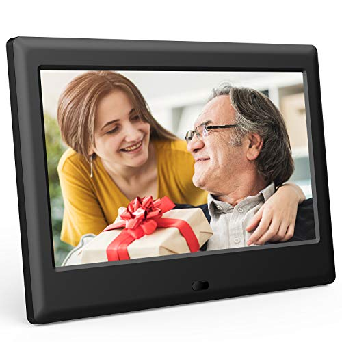 DBPOWER 7 Inch Digital Picture Frame - Upgraded Digital Photo Frame with (16:9) HD IPS Display, Photo/Music/Video Player/Calendar/Clock/Auto-On/Off Timer, Advertising Player with Remote 100 Digital Picture Frames