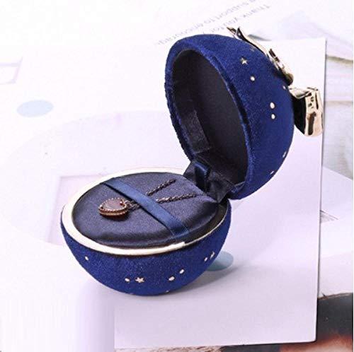Caja de joyería redonda Caja de joyería de pana Gypsophila Caja de embalaje de joyería con lazo Joyas Cumpleaños Aniversario Propuesta Regalo del día de San Valentín-azul marino_Colgante