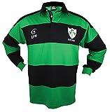 Camisa de Rayas de algodón de Manga Larga con trébol de Rugby (Azul Marino/Verde, S)