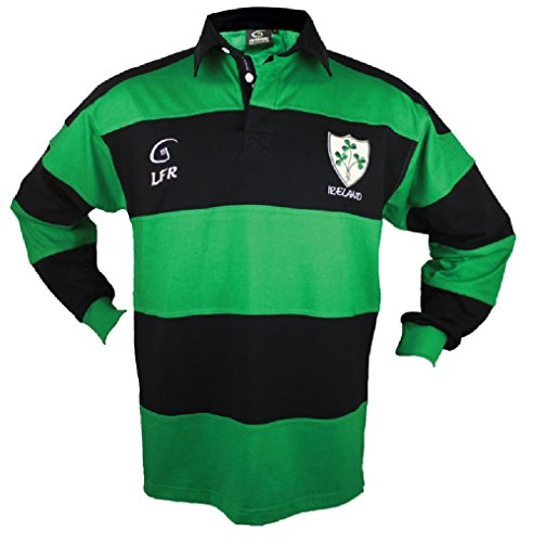 Live for Rugby Lange Ärmel Gestreift Shamrock Irish Rugby Shirt Kelly Grün Marineblau, Grün, Blau, XXL