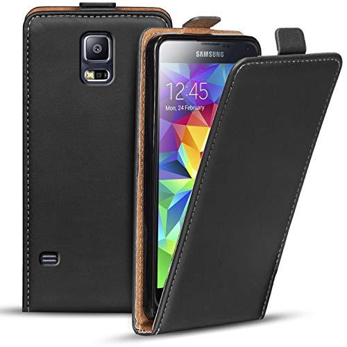 Verco Funda Flip Cover para Samsung Galaxy S5 Mini, Carcasa Delgado Vertical Plegable Case para Samsung S5 Mini Funda Teléfono, Negro