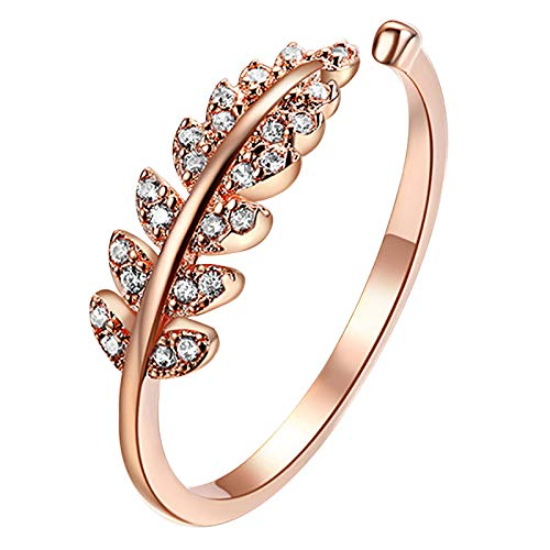 Willow Leaves Knuckle Stacking Rings for Women Engagement Rings Creative Openning Personalized Ring Women's Accessories Weedding Rings Valentine's Day Present(One Size,Gold)