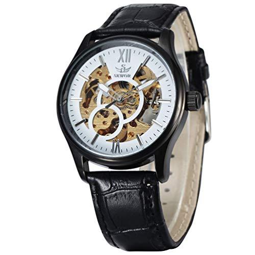 Relógio de pulso masculino Pixnor com sistema mecânico automático (branco prata preto)
