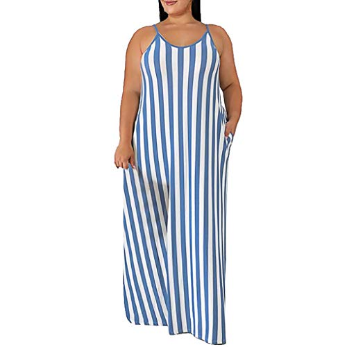 YKARITIANNA Fashion Women Plus Size Sexy Stripe Print Sashes Easy Loose Camisole Long Dress Blue