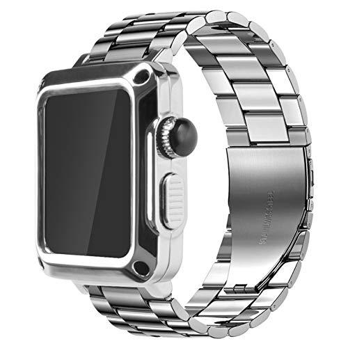 WWXFCA Carcasa y correa para correa de reloj de 44 mm, 42 mm, 42 mm, 40 mm, acero inoxidable, metal y funda protectora de 44 mm, color plateado, diámetro de la esfera: 38 mm para iwatch 321