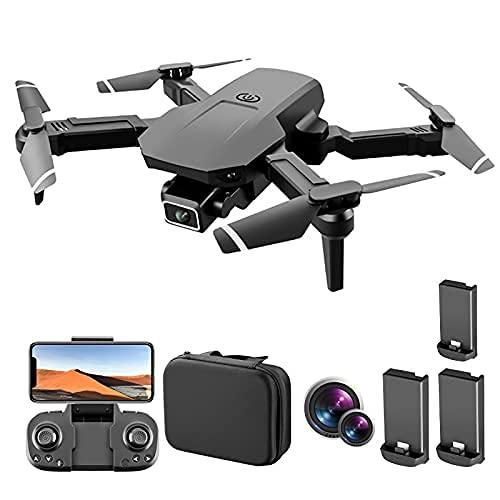 FMHCTN Dron con cámaras duales 4K para Adultos, Dron con Control Remoto Plegable WiFi, Toma Fotos automáticamente, Detección de Gravedad, El Tiempo de Vuelo es de 45 Minutos, 3 baterías