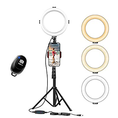KINGJOY Selfie Ring Light with Stand and Phone Holder for Live Stream Tiktok Camera Tripod for Makeup YouTube Compatible with iPhone Android from