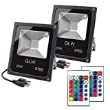GLW 20W RGB LED Flood Lights,Color Changing Floodlight with Remote Control,Waterproof Outdoor Landscape Lighting,16 Colors 4 Mode Dimmable Wall Washer Light,Stage Lighting for Garden,Yard (2 Pack)