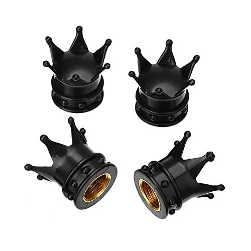 LINGLING 4 unids Black Crown Aluminio Coche Coche Neumático Neumático Válvula de Aire Tapa Tapa Tapa de Polvo Ajuste para Coche Camión Bicicleta Motocicleta ATV