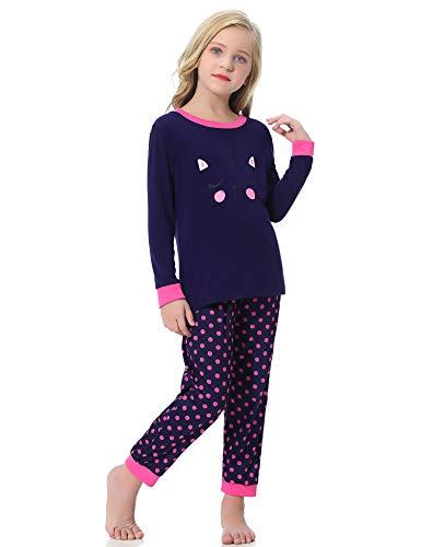 Hawiton Mädchen Schlafanzug Nettes Katzenmuster Baumwolle Kinder Langarm Pyjama Sweatanzüge für Baby-Mädchen Schlafanzug Slim Fit Lang Zweiteiliger Schlafanzug