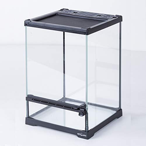 REPTIZOO Mini Reptile Glass Terrarium Tank 8'x8'x12', Front Opening Door Full View Visually Appealing Mini Reptile or Amphibians Glass Habitat