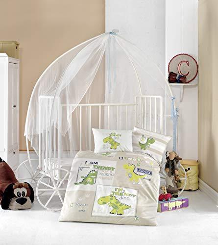 BEKATA Dekbedovertrekset voor baby's en peuters dekbedovertrek + kussensloop + beddengoed, totaal vier en vijf stuks (comfortabel is optioneel) anti-allergie TROODON thema zonder COMFORTER 4 stuks