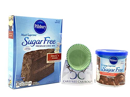 Carefree Caribou Sugar Free Layer Cake / Cupcake Mix Bundle (3 items) - Pillsbury Chocolate Devil's Food Sugar Free Cake Mix, Pillsbury Chocolate Fudge Sugar Free Frosting & 25 Carefree Caribou Paper